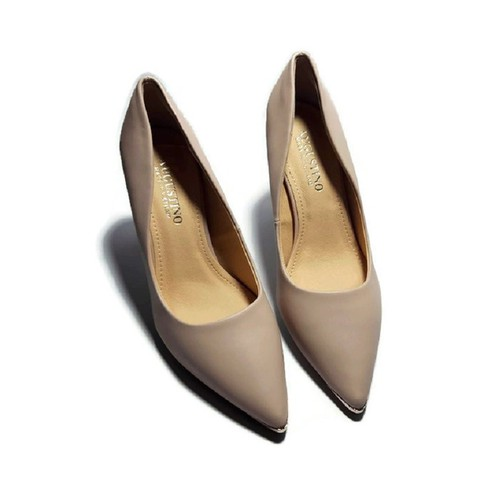 [SALE] Giày Augustino Chất Liệu Da Lì Mũi Nhọn Đính Đồng Gót Nhọn 9 Phân Màu Kem