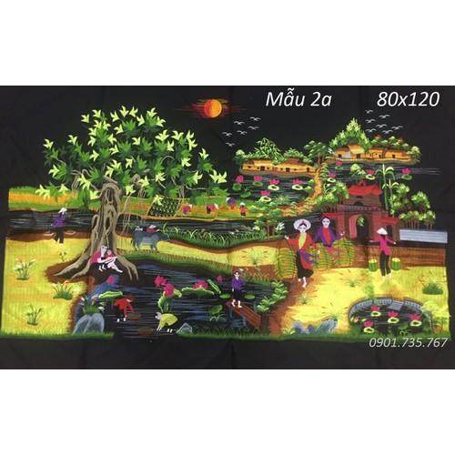 Tranh thêu Phong Cảnh Làng Quê thêu vi tính thành phẩm 80x120cm
