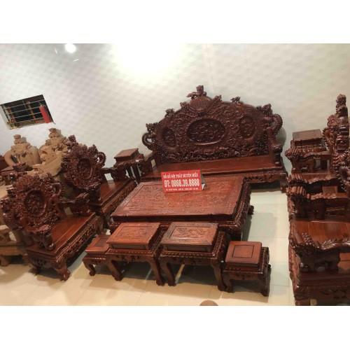 Bộ Ghế Rồng Đỉnh Gỗ Hương Đỏ Lào