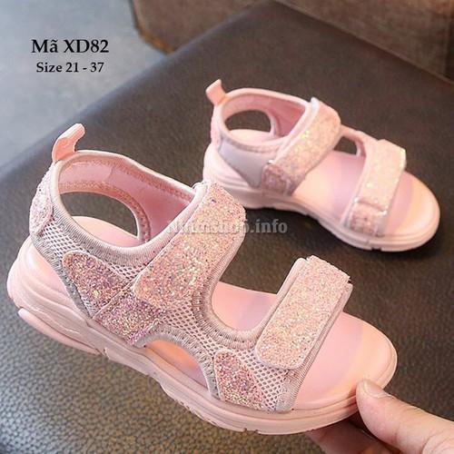 Sandal bé gái kim tuyến xinh xắn - Dép sandal bé gái quai dán - Dép sandal bé gái đi học XD82