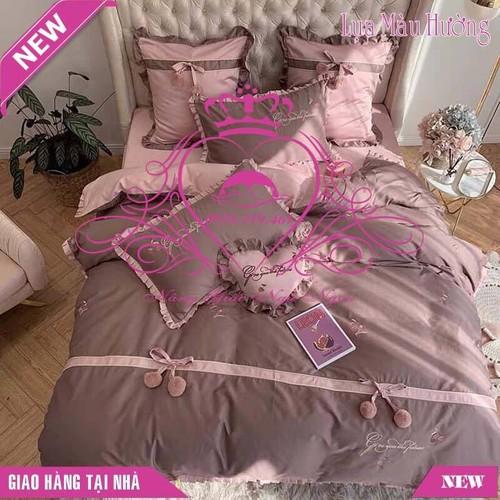 Bộ chăn ga gối lụa màu hồng mẫu 2