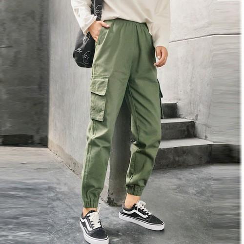 quần kaki dài nữ phong cách cá tính năng động