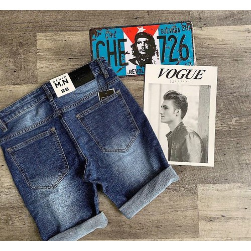 Quần short jeans nam wash thời thượng