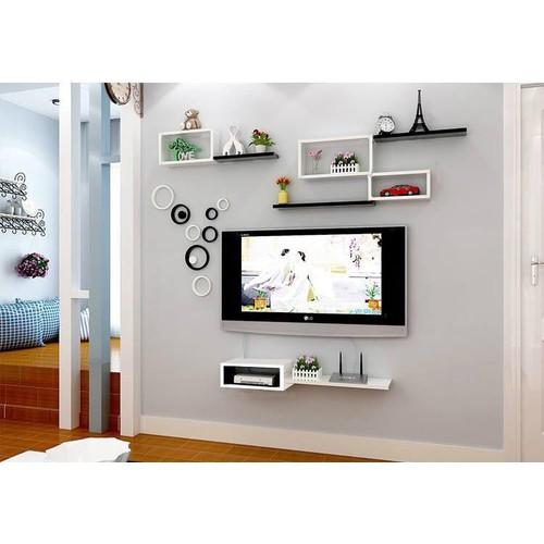 Kệ treo tường tivi 1 hộc kèm 1 thanh 40x20cm màu trắng và 1 bộ chữ nhật lồng trắng kèm 3 thanh đen 40x15cm