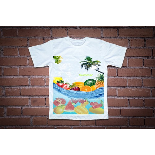 Áo thun in hình một biển trời trái  cây
