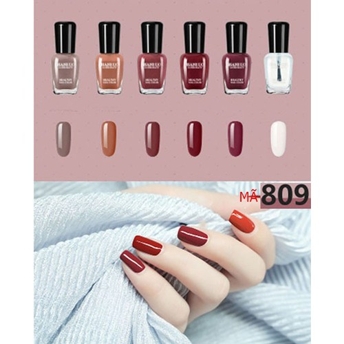 Bộ sơn móng tay HAN RUO Naiil polish 06 chai mã 809 - hàng nhập khẩu