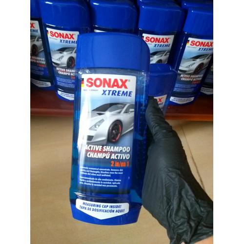 Nước rửa xe ô tô đậm đặc làm sạch nhanh 500ml - Sonax xtreme active shampoo 2 in 1