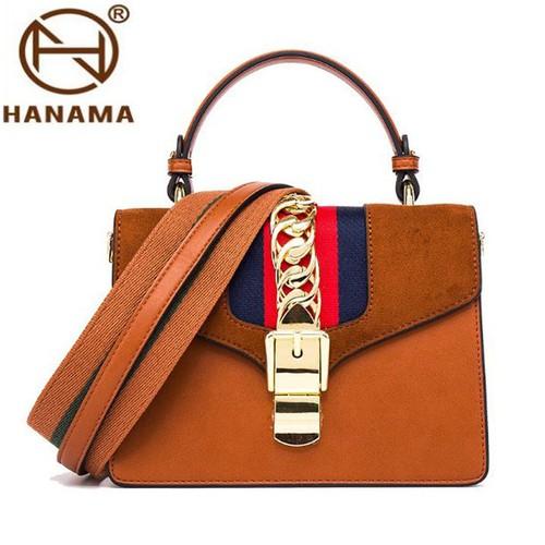 Túi đeo vai nữ thời trang khuy cài nối xích bản to phong cách HANAMA DV658