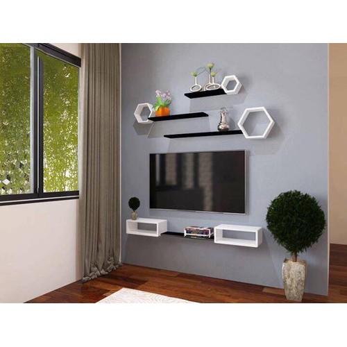 kệ treo tường tivi 2 hộc trắng kèm 1 thanh 40x20cm đen và combo ô lục giác trắng kèm 3 thanh ngang 50x13cm đen