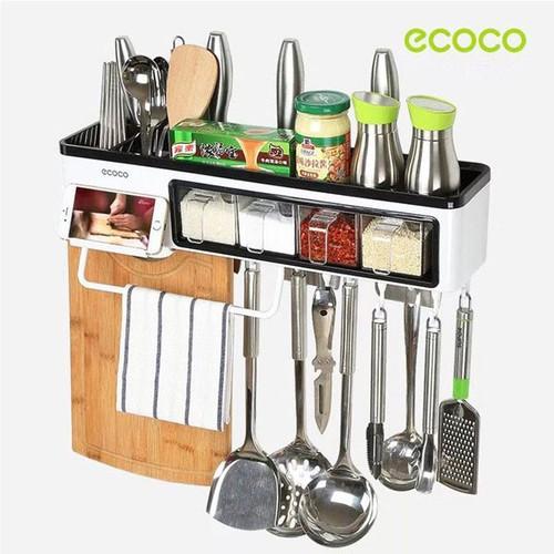 Kệ treo đồ nhà bếp kèm 4 hũ gia vị Ecoco không cần khoan