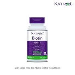 Natrol Biotin 10,000 mcg thực phẩm bổ sung giúp mọc tóc, tóc chắc khỏe - Chai 100 viên