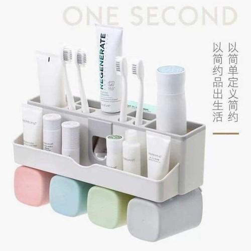 Bộ dụng cụ nhả kem đánh răng lúa mạch 4 cốc vuông - Bộ nhả kem đánh răng tự động