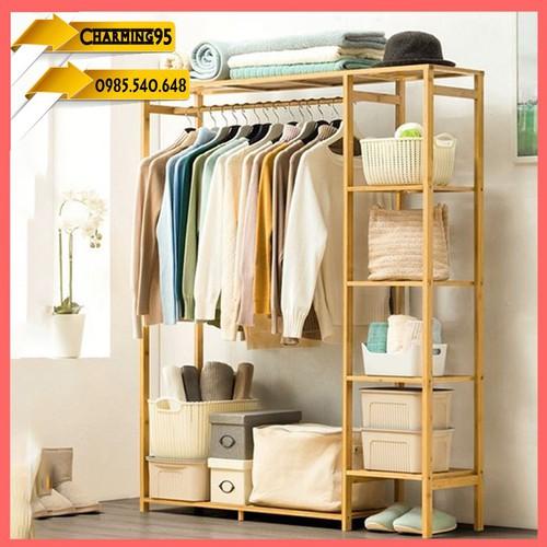 Tủ quần áo trống - giàn treo quần áo - khung treo bằng tre- tủ treo quần áo