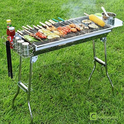 Bếp nướng than hoa BBQ cao cấp gấp gọn tặng kèm kẹp gắp thức ăn inox