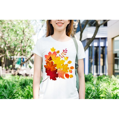 Áo thun in hình lá cây phong xếp trồng