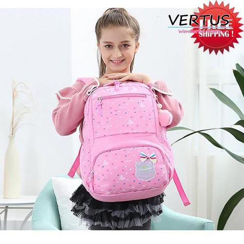 Balo cho bé gái lớp 1-3 siêu nhẹ Ekuizai- FLY kèm bông xinh xắn