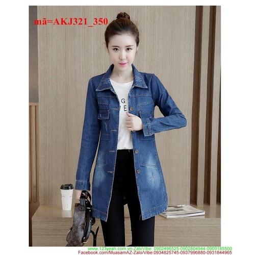 Áo khoác jean form dài oat màu xước nhẹ xinh iu AKJ321