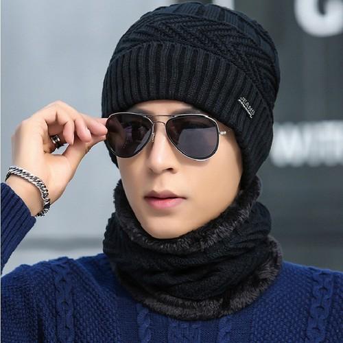 Khăn kèm mũ len thời trang nam cao cấp