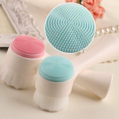Cọ massage rửa mặt KOREA 2 đầu 3D gai silicon