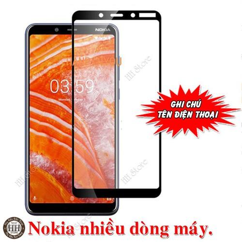 Full keo 9D Kính cường lực Nokia 2, 3, 3.1, 3.1 Plus, 5, 5.1 Plus, 6.1 Plus, 7, 7 Plus, 8 màu đen
