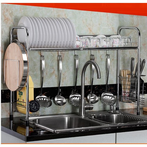 Kệ để bát đĩa inox phía trên chậu rửa -kệ để bát đĩa-kệ inox để đồ nhà bếp