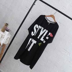 đầm big size màu đen in chữ size ngoại cỡ 5Xl 90-105kg