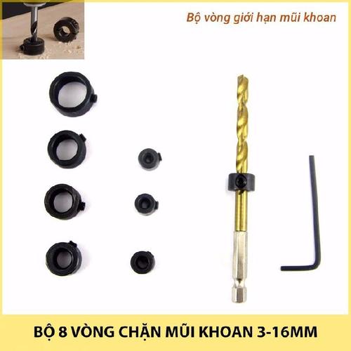 Bộ 8 vòng chặn mũi khoan 3-16mm