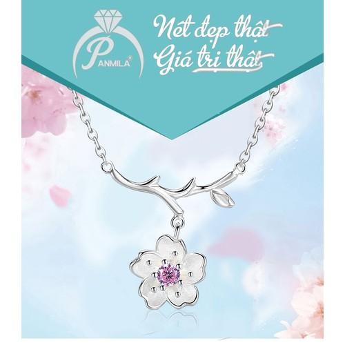 Dây chuyền bạc đẹp - Dây chuyền mặt hoa mai đính pha lê hồng [TS-DC-A4H]