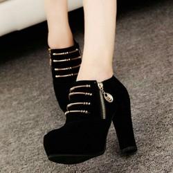 Giày bốt nữ cao gót khoá vàng