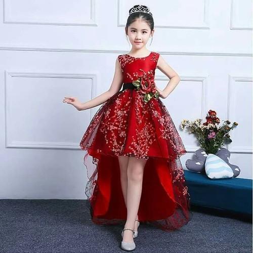 Đầm công chúa đỏ đuôi tôm cho bé