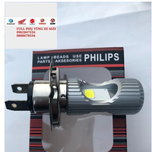 Đèn pha led 2 tim H4 Philip siêu sáng dùng điện máy và điện bình