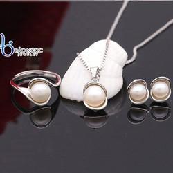 Bộ Trang Sức Silver Ý S925 Italy Bảo Ngọc Jewelry Ngọc Trai Nước Ngọt Tự Nhiên BNT611