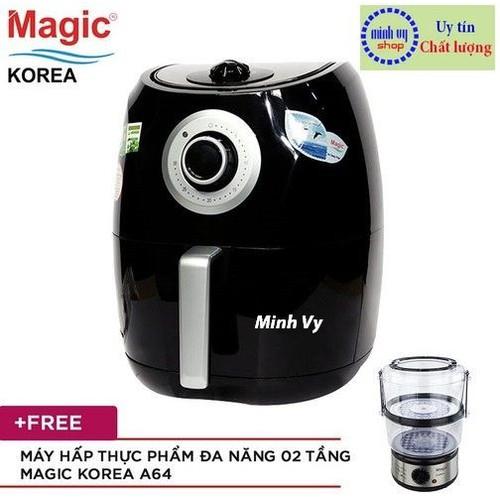 Nồi chiên không dầu Magic Korea A84 4.4 lít + Tặng Máy hấp Magic Korea A64