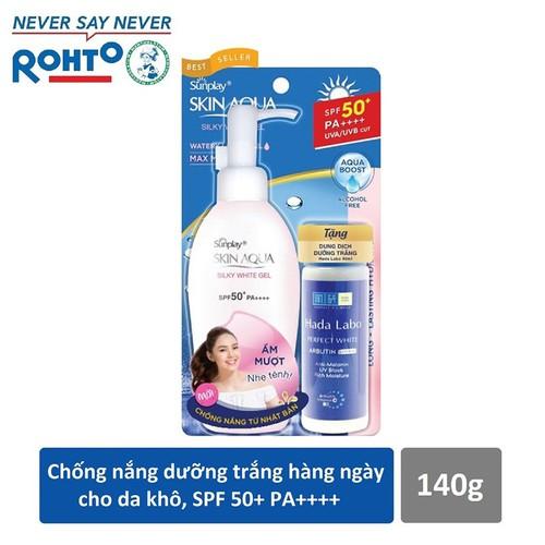 Gel chống nắng dưỡng trắng Sunplay Skin Aqua Silky White Gel SPF50+, PA++++ 140g + Tặng Dung dịch Hada Labo 40ml