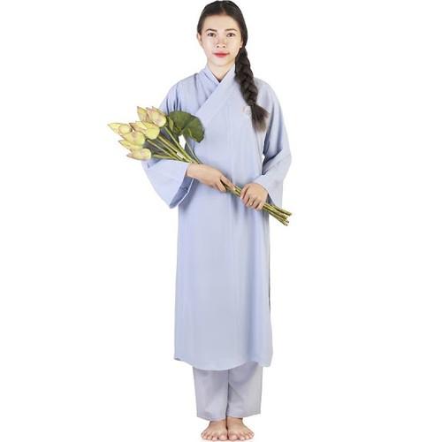 Áo Tràng Nữ Mặc đi lễ chùa - Màu lam size số 1 đến 6