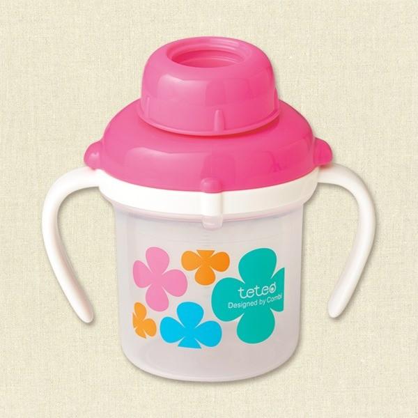 Bình nước tập uống combi màu hồng step 1 200ml - hàng nội địa nhật