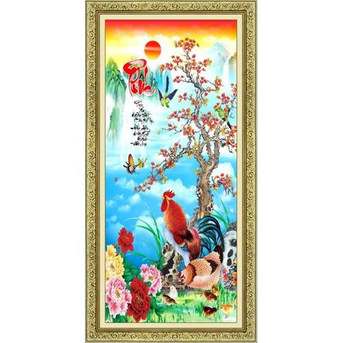 Tranh in canvas VTC Đàn gà chữ Phúc UD0106B1 không khung KT 50 x 100 cm