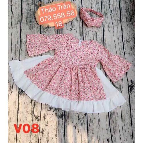 Đầm xoè hoạ tiết kèm băng đô xinh xắn cho bé gái từ 0-8 tuổi