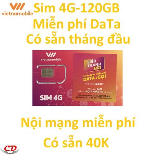Siêu thánh sim 4G VNMB miễn phí 120GB+40k