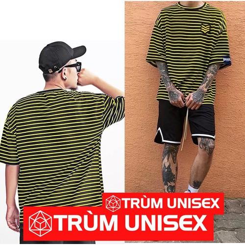 [Trùm Unisex] Áo thun Nam Tay lỡ Stee Sọc vàng đen