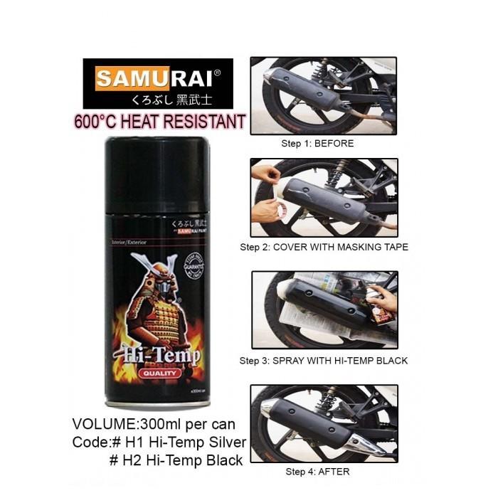 H1_ Chai sơn xịt  xe máy Samurai H1- Chịu nhiệt- màu bạc- sơn pô chống cháy cực tốt, shop  uy tín, giao hàng nhanh, giá rẻ, Giàu 0911199996 - phutunguytin.com 10