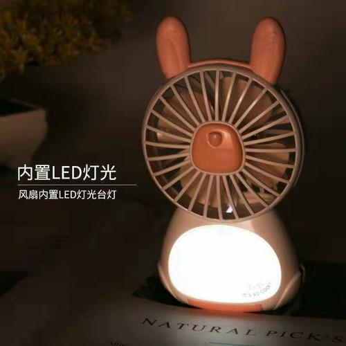 Quạt cầm tay mini để bàn kèm đèn led ngủ thời trang
