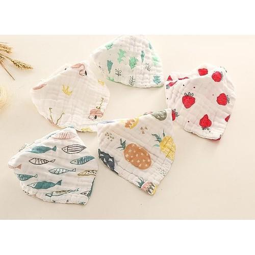 Sét 2 khăn tam giác có cúc bấm vải xô Nhật Hàng loại 1