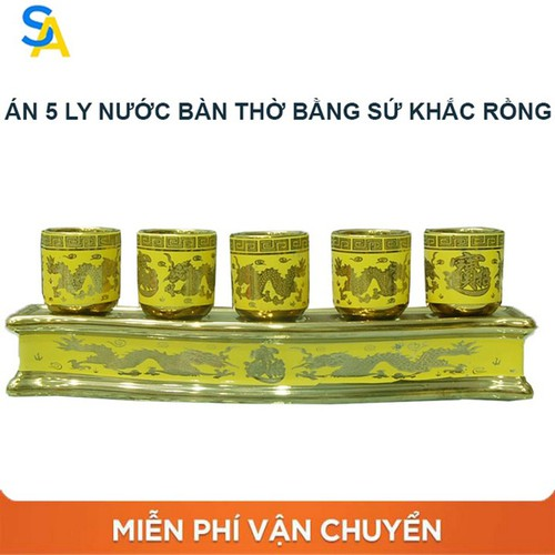 Án năm 5 Ly nước trang trí bàn thờ sứ họa tiết rồng vàng ,Cốc nước gốm sứ đẹp cúng thần tài, Chén nước đặt trên bàn thờ bằng gốm sứ họa tiết phong thủy