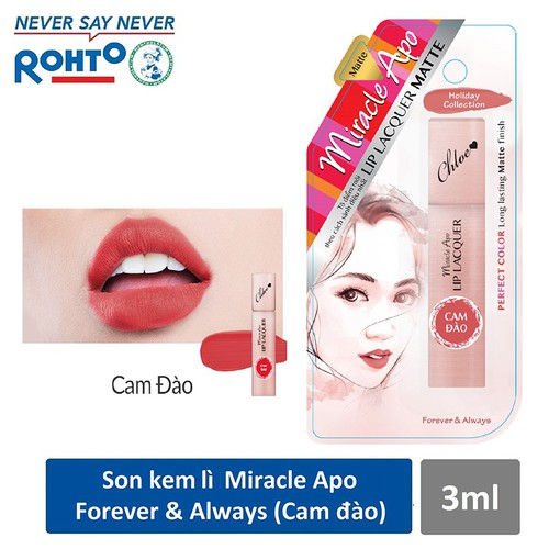 Son kem lì Miracle Apo Lip Lacquer Matte Holiday Collection Forever & Always 3ml Cam đào - 7192779 , 17056721 , 15_17056721 , 155000 , Son-kem-li-Miracle-Apo-Lip-Lacquer-Matte-Holiday-Collection-Forever-Always-3ml-Cam-dao-15_17056721 , sendo.vn , Son kem lì Miracle Apo Lip Lacquer Matte Holiday Collection Forever & Always 3ml Cam đào