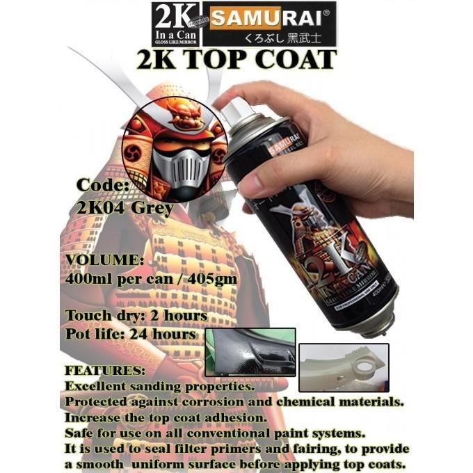 2K04 _ Chai Sơn Xịt Sơn Xe Máy Samurai 2K04 sơn lót xám _  Expoxy Surfacer lót  2 thành phần siêu bền  2