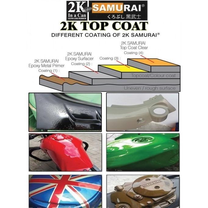 2K04 _ Chai Sơn Xịt Sơn Xe Máy Samurai 2K04 sơn lót xám _  Expoxy Surfacer lót  2 thành phần siêu bền  3