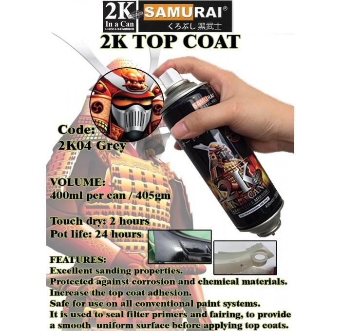 2K04 _ Chai Sơn Xịt Sơn Xe Máy Samurai 2K04 sơn lót xám _  Expoxy Surfacer lót  2 thành phần siêu bền  18