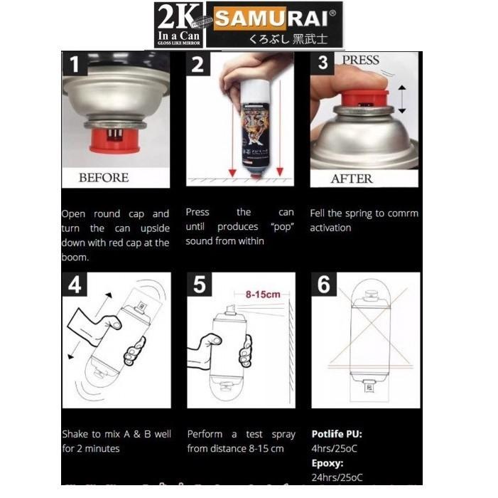 2K04 _ Chai Sơn Xịt Sơn Xe Máy Samurai 2K04 sơn lót xám _  Expoxy Surfacer lót  2 thành phần siêu bền  15