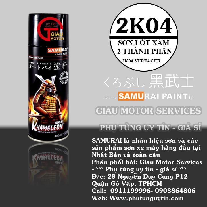 2K04 _ Chai Sơn Xịt Sơn Xe Máy Samurai 2K04 sơn lót xám _  Expoxy Surfacer lót  2 thành phần siêu bền  1